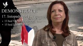 Lenka Procházková, zve na demonstraci 17. listopadu 2012