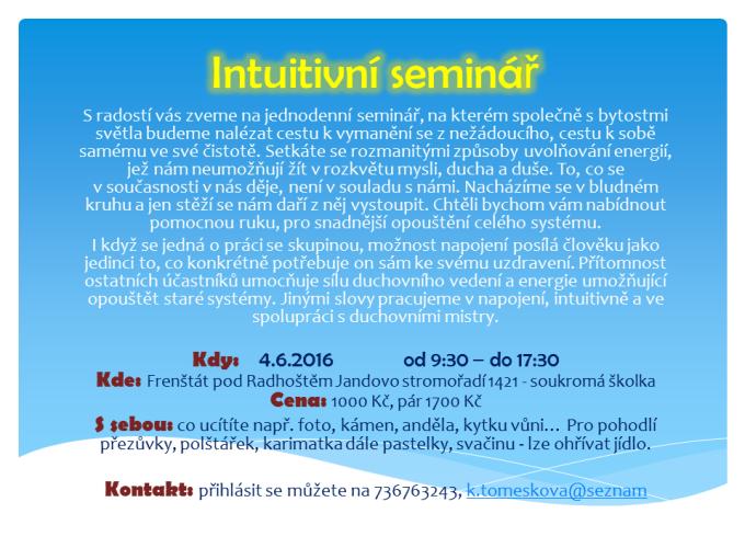 Intuitivní seminář leták